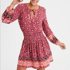 American Eagle Red Smocked Waist Dress size S